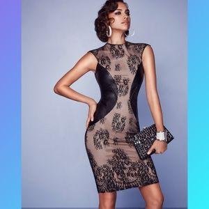 BEBE Lace & Faux Leather Midi Drees